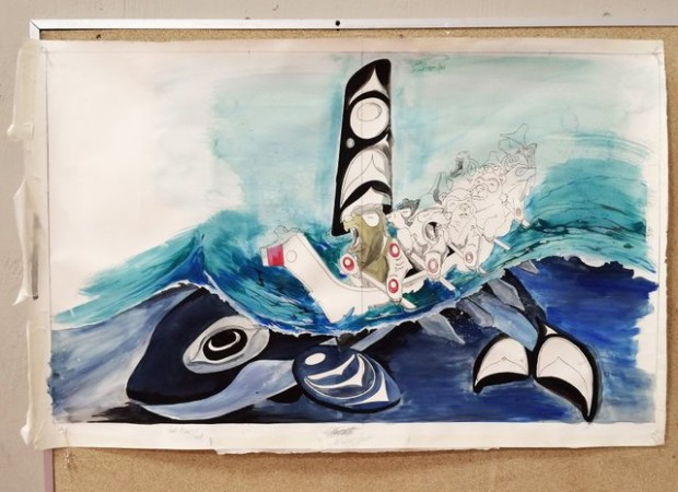A sketch of the mural that artist Toma Villa is working on with students at Chief Kitsap Academy. (Rachel Anne Seymour / Kitsap Sun)