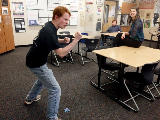 North Kitsap High School senior Conrad Schauer rehearses the piece he will perform at a national speech tournament in May in Nebraska. It's the first time the team has had students compete in a speech-only national tournament. (Rachel Anne Seymour / Kitsap Sun)